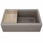 Bellucci™ 33'' CeramTek™ Farmhouse Flat Apron Front Single Bowl Kitchen Sink with Cutting Board, Granite Quartz Composite, Brown