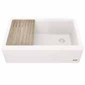Bellucci™ 33'' CeramTek™ Farmhouse Flat Apron Front Single Bowl Kitchen Sink with Cutting Board, Granite Quartz Composite, White