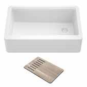 Bellucci™ Workstation 30'' W Farmhouse Apron Front Granite Composite Single Bowl Kitchen Sink in White, 29-3/4'' W x 20-3/4'' D x 10'' H