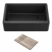 Bellucci™ Workstation 30'' W Farmhouse Apron Front Granite Composite Single Bowl Kitchen Sink in Metallic Black, 29-3/4'' W x 20-3/4'' D x 10'' H