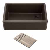 Bellucci™ Workstation 30'' W Farmhouse Apron Front Granite Composite Single Bowl Kitchen Sink in Metallic Brown, 29-3/4'' W x 20-3/4'' D x 10'' H