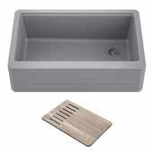 Bellucci™ Workstation 30'' W Farmhouse Apron Front Granite Composite Single Bowl Kitchen Sink in Metallic Gray, 29-3/4'' W x 20-3/4'' D x 10'' H