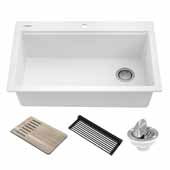 Bellucci Workstation 33'' Drop-In Granite Composite Single Bowl Kitchen Sink in White with Accessories, 33'' W x 22'' D x 9-5/8'' H