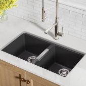 KRS-KGU-434B, 31-1/2'' Undermount 50/50 Double Bowl Black Onyx Granite Kitchen Sink