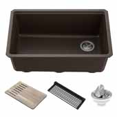 Bellucci™ Workstation 30'' W Undermount Granite Composite Single Bowl Kitchen Sink in Metallic Brown, 29'' W x 19'' D x 10'' H