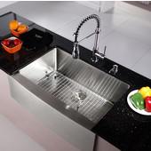 29-3/4'' Farmhouse Single Bowl Kitchen Sink with Commercial Style Kitchen Faucet & Soap Dispenser in Chrome