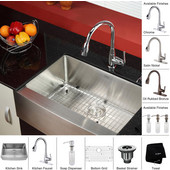 29-3/4'' Farmhouse Single Bowl Kitchen Sink with Kitchen Faucet & Soap Dispenser in Chrome