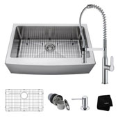 Kitchen Combo With 33''W Single Bowl Stainless Steel Kitchen Farmhouse Sink And Nola™ Commercial Kitchen Faucet With Soap Dispenser In Chrome Finish