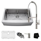 Kitchen Combo With 33''W Single Bowl Stainless Steel Kitchen Farmhouse Sink And Nola™ Commercial Kitchen Faucet With Soap Dispenser In Stainless Steel Finish