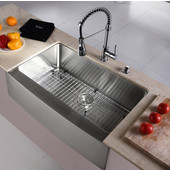 32-7/8'' Farmhouse Single Bowl Kitchen Sink with Commercial Style Kitchen Faucet & Soap Dispenser in Chrome