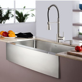 32-7/8'' Farmhouse Single Bowl Kitchen Sink with Commercial Style Kitchen Faucet & Soap Dispenser in Stainless Steel