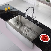 35-7/8'' Farmhouse Single Bowl Kitchen Sink with Commercial Style Kitchen Faucet & Soap Dispenser in Chrome