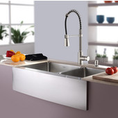 32-7/8'' Farmhouse Double Bowl Kitchen Sink with Commercial Style Kitchen Faucet & Soap Dispenser in Stainless Steel