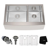 32-7/8'' Farmhouse Double Bowl Kitchen Sink with NoiseDefend™ Soundproofing