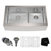 35-7/8'' Farmhouse Double Bowl Kitchen Sink with NoiseDefend™ Soundproofing