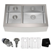 32-7/8'' 60/40 Double Bowl 16 Gauge S/S  Farmhouse Kitchen Sink with NoiseDefend™ Soundproofing