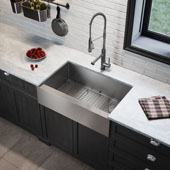 33'' x 21'' Standart PRO™ Farmhouse Modern Flat Apron Front 16 Gauge Single Bowl Stainless Steel Kitchen Sink 32-7/8''W x 20-3/4''D x 10''H