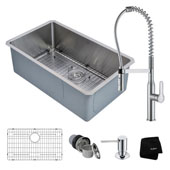 Kitchen Combo With Undermount Stainless Steel 30 ''W Single Bowl Kitchen Sink And Nola™ Commercial Kitchen Faucet With Soap Dispenser In Chrome Finish
