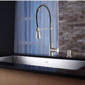 30'' Undermount Single Bowl 16 Gauge S/S  Kitchen Sink with Commercial Style Kitchen Faucet & Soap Dispenser in Stainless Steel