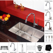 30'' Undermount Single Bowl 16 Gauge S/S  Kitchen Sink with Kitchen Faucet & Soap Dispenser in Chrome