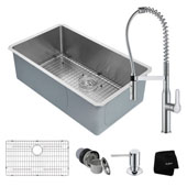 Kitchen Combo With Undermount Stainless Steel 32''W Single Bowl Kitchen Sink And Nola™ Commercial Kitchen Faucet With Soap Dispenser In Chrome Finish