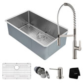 Kitchen Combo With Undermount Stainless Steel 32''W Single Bowl Kitchen Sink And Nola™ Commercial Kitchen Faucet With Soap Dispenser In Stainless Steel Finish