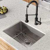 23'' 16 Gauge Standart PRO™ Kitchen Sink Combo Set with Matte Black Bolden™ 18'' Kitchen Faucet and Soap Dispenser 23''W x 18''D x 10''H