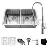 Kitchen Combo With 33''W Undermount 50/50 Double Bowl Stainless Steel Kitchen Sink And Nola™ Commercial Kitchen Faucet With Soap Dispenser In Chrome Finish