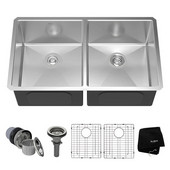 32-3/4'' Undermount 50/50 Double Bowl 16 Gauge S/S  Kitchen Sink with NoiseDefend™ Soundproofing