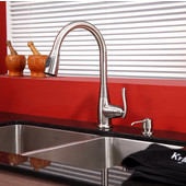 32-3/4'' Undermount Double Bowl 16 Gauge S/S  Kitchen Sink with Kitchen Faucet & Soap Dispenser in Satin Nickel
