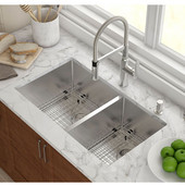 32-3/4'' Undermount 60/40 Double Bowl 16 Gauge S/S  Kitchen Sink with NoiseDefend™ Soundproofing