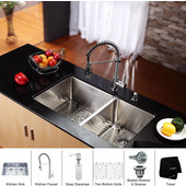 32-3/4'' Undermount Double Bowl 16 Gauge S/S  Kitchen Sink with Commercial Style Kitchen Faucet & Soap Dispenser in Chrome