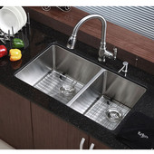 32-3/4'' Undermount 60/40 Double Bowl 16 Gauge S/S  Kitchen Sink with NoiseDefend� Soundproofing