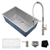 Kitchen Combo With Pax™ Undermount Stainless Steel 31 ''W Single Bowl Sink And Nola™ Commercial Kitchen Faucet With Soap Dispenser In Stainless Steel Finish