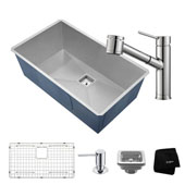 Kitchen Combo With Pax™ Zero-Radius 31 -1/2''W Undermount Single Bowl Stainless Steel Kitchen Sink And Oletto ™ Single Handle Pull Out Kitchen Faucet With Soap Dispenser In Chrome Finish