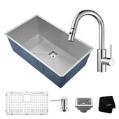 Kitchen Combo With Pax™ Zero-Radius 31 -1/2''W Undermount Single Bowl Stainless Steel Kitchen Sink And Oletto ™ Single Handle Pull Down Kitchen Faucet With Soap Dispenser In Chrome Finish