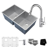 Kitchen Combo With Pax™ Zero-Radius 31 -1/2''W Undermount 50/50 Double Bowl Stainless Steel Kitchen Sink And Oletto ™ Single Handle Pull Down Kitchen Faucet With Soap Dispenser In Chrome Finish