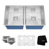 Pax™ Zero Radius 31-1/2'' Handmade Undermount 50/50 Double Bowl 16 Gauge S/S  Kitchen Sink with NoiseDefend™ Soundproofing
