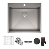 Pax™ Zero-Radius 25'' Single Bowl Stainless Steel Drop-In Kitchen Sink with 1 Pre-Drilled Hole, 25'' W x 22'' D x 9'' H