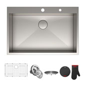Pax™ Zero-Radius 33'' Single Bowl Stainless Steel Drop-In Kitchen Sink with 2 Pre-Drilled Holes, 33'' W x 22'' D x 9'' H