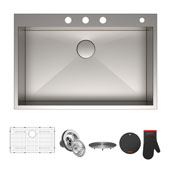 Pax™ Zero-Radius 33'' Single Bowl Stainless Steel Drop-In Kitchen Sink with 4 Pre-Drilled Holes, 33'' W x 22'' D x 9'' H