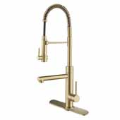 Artec Pro 2-Function Commercial Style Pre-Rinse Kitchen Faucet with Pull-Down Spring Spout and Pot Filler with Deck Plate in Antique Champagne Bronze Finish