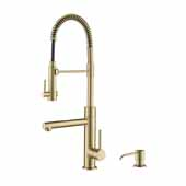 Artec Pro 2-Function Commercial Style Pre-Rinse Kitchen Faucet with Soap Dispenser in Antique Champagne Bronze Finish