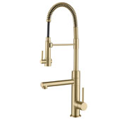 Artec 2-Function Commercial Style Pre-Rinse Kitchen Faucet with Pull-Down Spring Spout and Pot Filler in Brushed Gold
