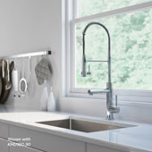 Artec Pro™ 2-Function Commercial Style Pre-Rinse Kitchen Faucet with Pull-Down Spring Spout and Pot Filler Chrome Finish