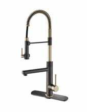 Artec Pro™ 2-Function Commercial Style Pre-Rinse Kitchen Faucet with Deck Plate, Pull-Down Spring Spout and Pot Filler In Black Stainless Steel/Brushed Gold Finish, Spout Height: 6-5/8'', Spout Reach: 7-5/8''