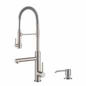 Artec Pro™ Spot Free Stainless Steel Finish 2-Function Commercial Style Pre-Rinse Kitchen Faucet with Soap Dispenser, Pull-Down Spring Spout and Pot Filler