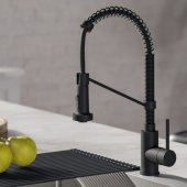 KRAUS Bolden™ Single Handle 18'' Commercial Kitchen Faucet with Dual Function Pull-Down Sprayhead in Matte Black Finish