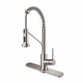 Bolden™ Single Handle 18'' Commercial Kitchen Faucet with Dual Function Pull Down Sprayhead and Deck Plate in Spot Free Stainless Steel Finish