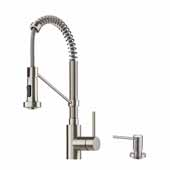 Bolden™ Single Handle 18'' Commercial Kitchen Faucet with Dual Function Pull Down Sprayhead and Soap Dispenser in Spot Free Stainless Steel Finish